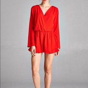 Red Wrap Top Romper
